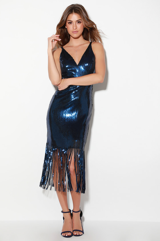 70s Prom, Formal, Evening, Party Dresses Frankie Navy Blue Sequin Fringe Midi Dress - Lulus $139.00 AT vintagedancer.com