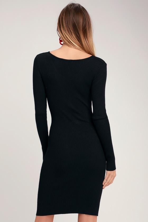 Black long sleeve bodycon dress clip art