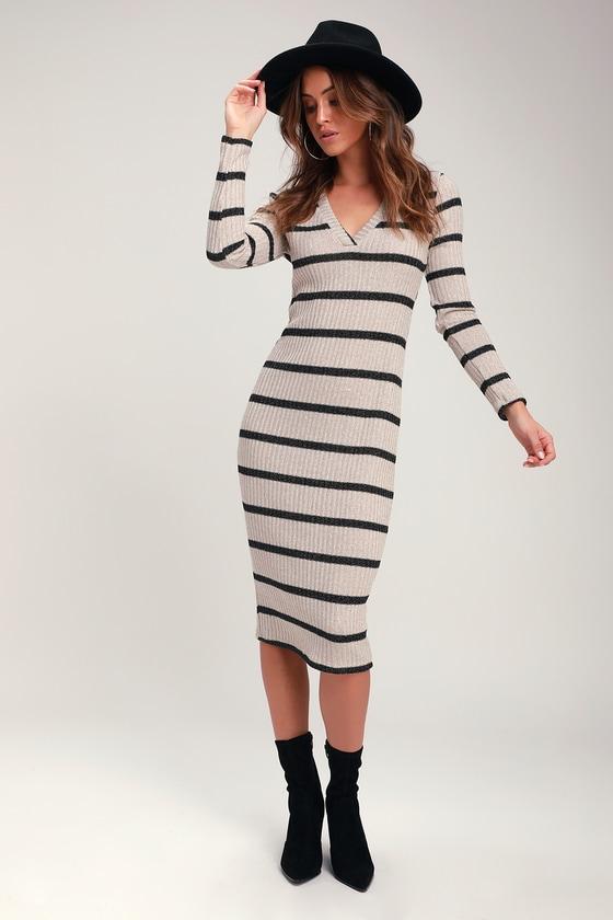 4e453378c98 Adventurous Black and Taupe Striped Ribbed Midi Sweater Dress - $40 :  Fashion at Lulus.com