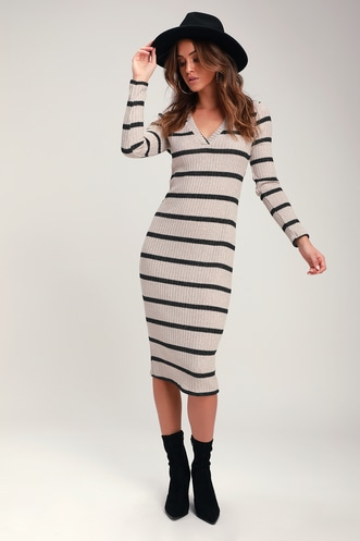 dfdd4854c07 Adventurous Black and Taupe Striped Ribbed Midi Sweater Dress