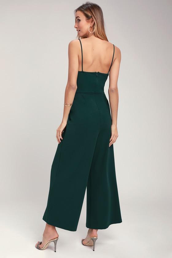 b17e231f3f90 Cute Green Jumpsuit - Twist-Front Jumpsuit - Wide Leg Jumpsuit