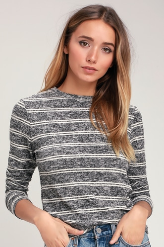 f9c6e69591c Capshaw Washed Black and White Striped Marled Sweater Top