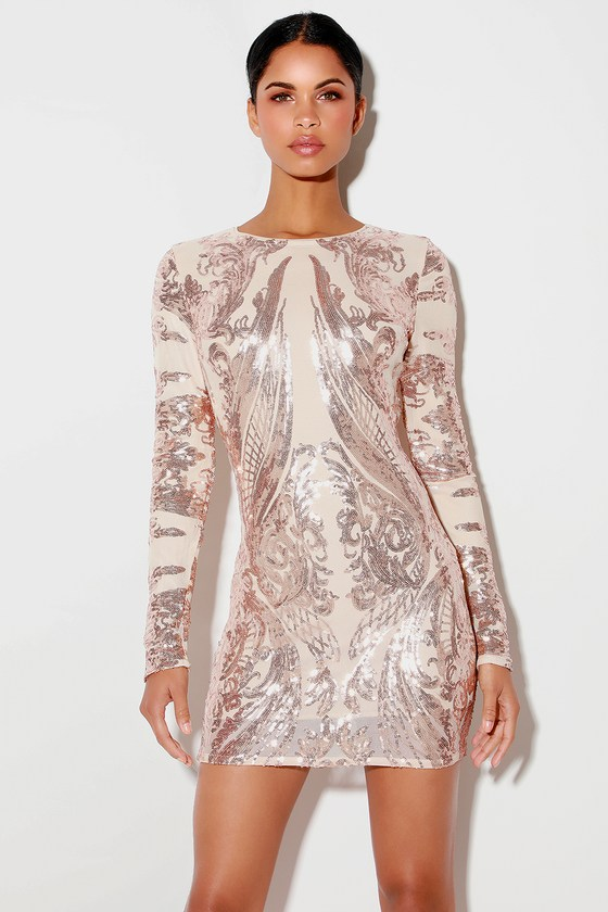 Dress bodycon gold long rose sequin sleeve with pockets grand