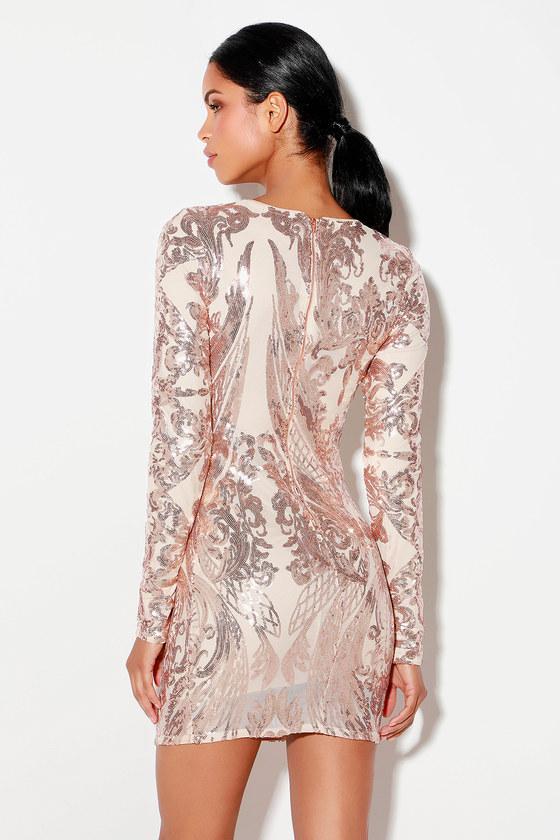 88a5a4de Stunning Rose Gold Dress - Sequin Dress - Bodycon Dress - Dress