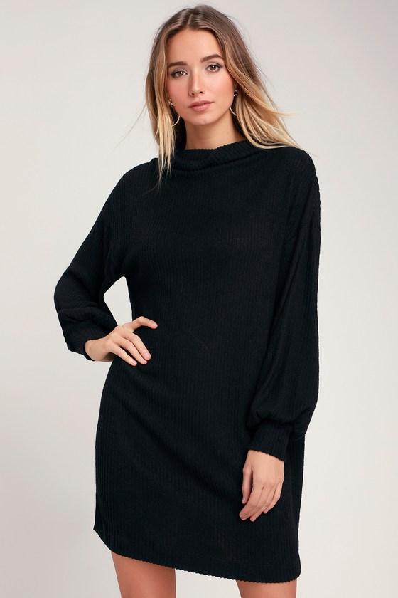 b405b4680d2 Cute Black Dress - Cowl Neck Dress - Marled Dress - Sweater Dress