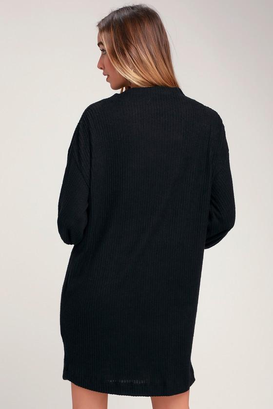 9850dcb10a14 Cute Black Dress - Cowl Neck Dress - Marled Dress - Sweater Dress