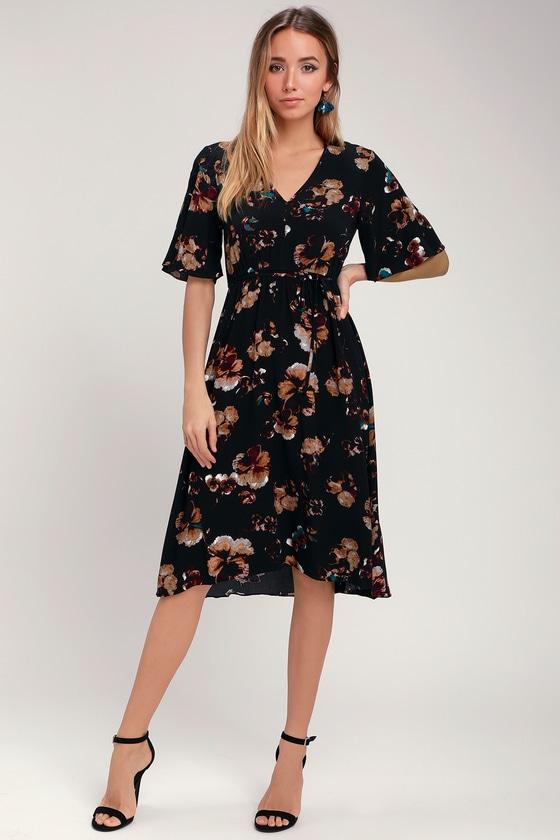 e315a732a5 Cute Black Midi Dress - Floral Print Dress - Floral Midi Dress