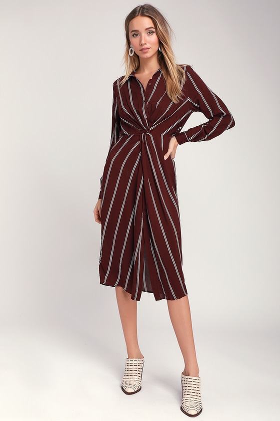 0bcbb3b0359 Burgundy Striped Dress - Twist-Front Midi - Striped Shirt Dress