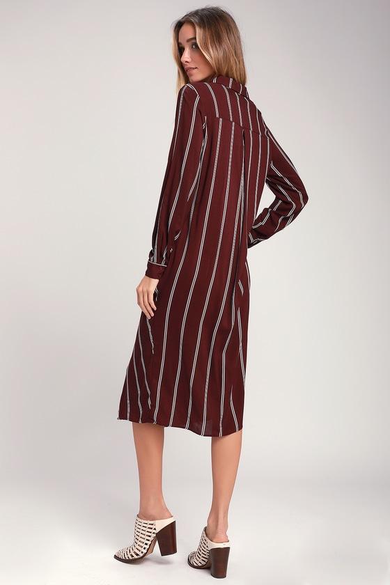2a60f99b9c0b Burgundy Striped Dress - Twist-Front Midi - Striped Shirt Dress