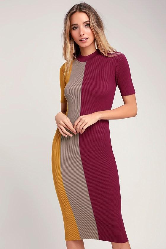 a79ddcd3cbeb Cute Color Block Dress - Bodycon Dress - Midi Dress - Pink Dress