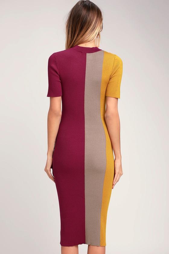 3bf2f43fe8bb Cute Color Block Dress - Bodycon Dress - Midi Dress - Pink Dress