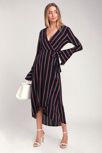 d46a76fbb435 Appleton Navy Blue Striped Long Sleeve Wrap Midi Dress