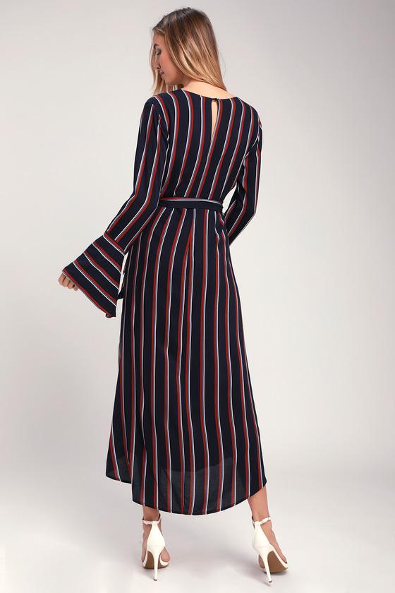 8aeefd99d328 Chic Navy Blue Striped Dress - Wrap Dress - Midi Dress - Dress