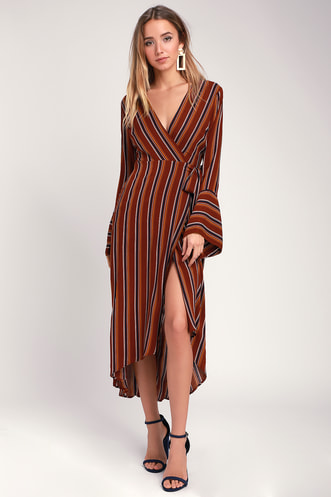167693a7ff9 Appleton Rust Red Striped Long Sleeve Wrap Midi Dress