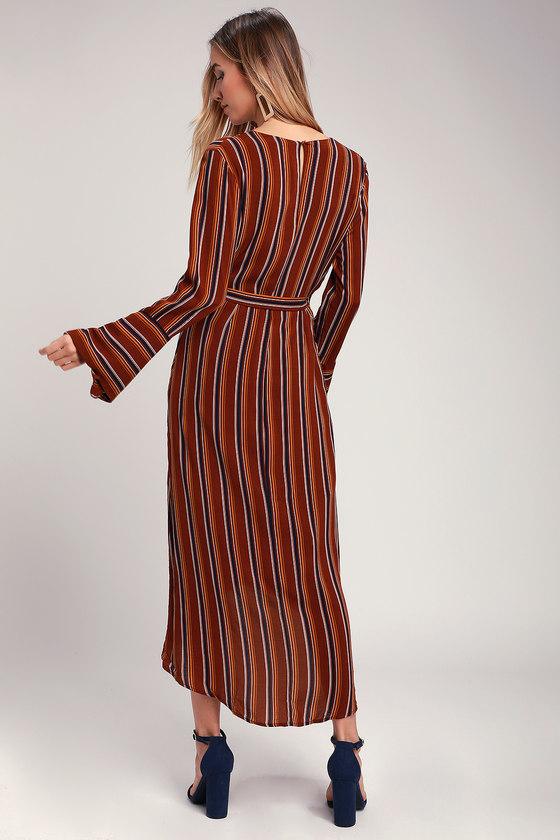 43986bfbd4d Chic Rust Red Striped Dress - Wrap Dress - Midi Dress - Dress