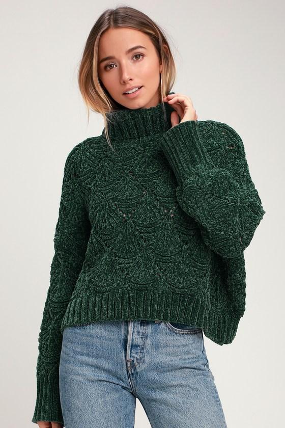 eded3dd6cb Dark Green Chenille Knit Sweater - Chenille Turtleneck Sweater