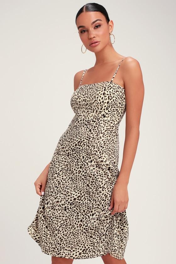 a139559e0d Chic Leopard Print Dress - Beige Leopard Dress - Beige Midi Dress