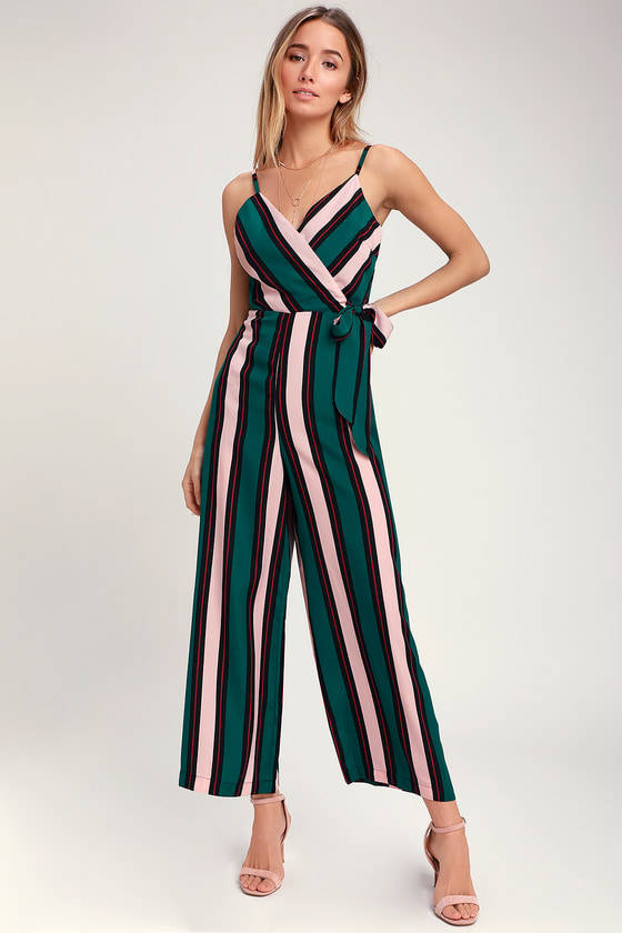 049a10fac91 Fun Striped Jumpsuit - Pink and Green Jumpsuit - Striped Jumpsuit