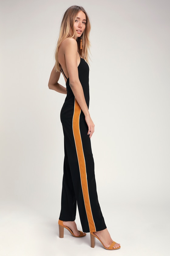 dccffc1eed6c Cool Black Jumpsuit - Side Stripe Jumpsuit - Sleeveless Jumpsuit