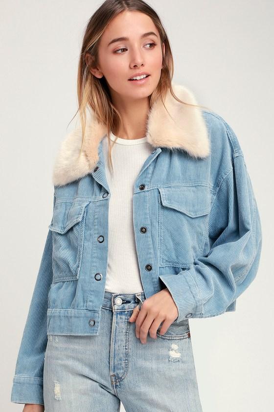faf451915a130 Cute Light Blue Corduroy Jacket - Faux Fur Trim Jacket - Jacket