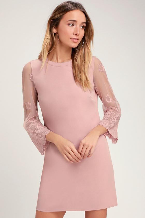 3cd2931367e1 Cute Mauve Shift Dress - Mesh Sleeve Dress - Embroidered Dress