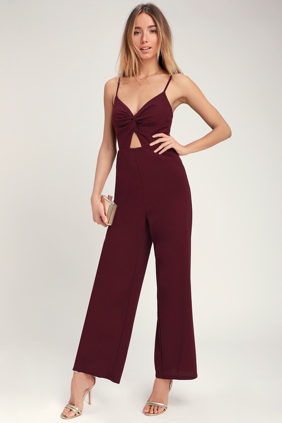 d9a28436cda Cute Burgundy Jumpsuit - Twist-Front Jumpsuit - Boho Jumpsuit
