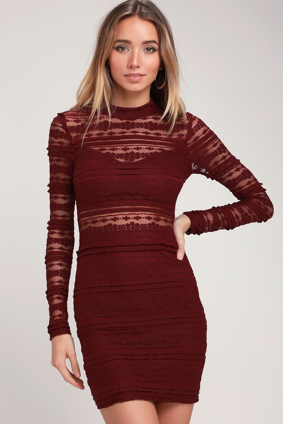 Reece Burgundy Lace Long Sleeve Bodycon Dress