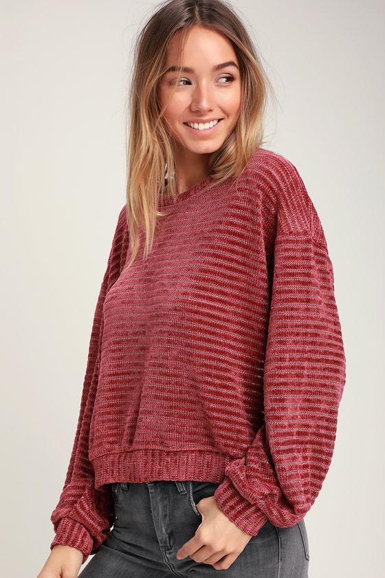 0065bedda4 LUSH Sweater - Mauve Sweater - Chenille Striped Sweater - Sweater