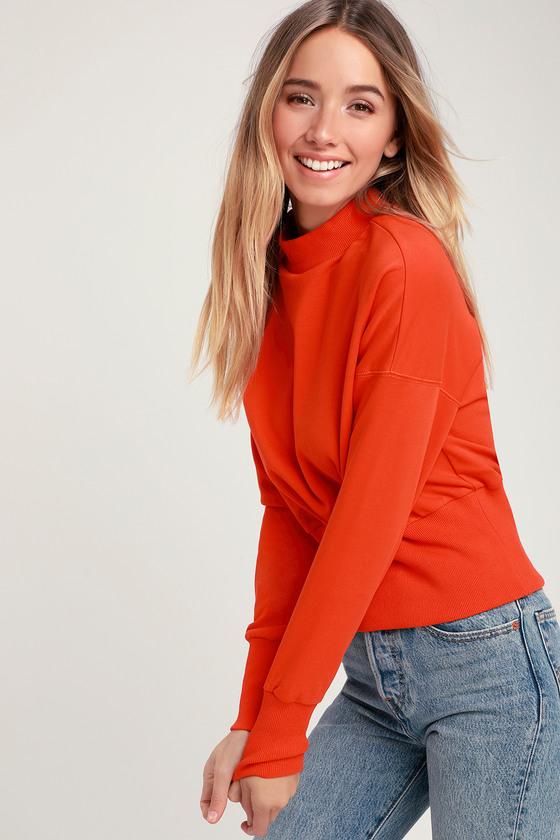 d63d5311438c Cute Sweatshirt - Mock Neck Sweatshirt - Orange Sweatshirt