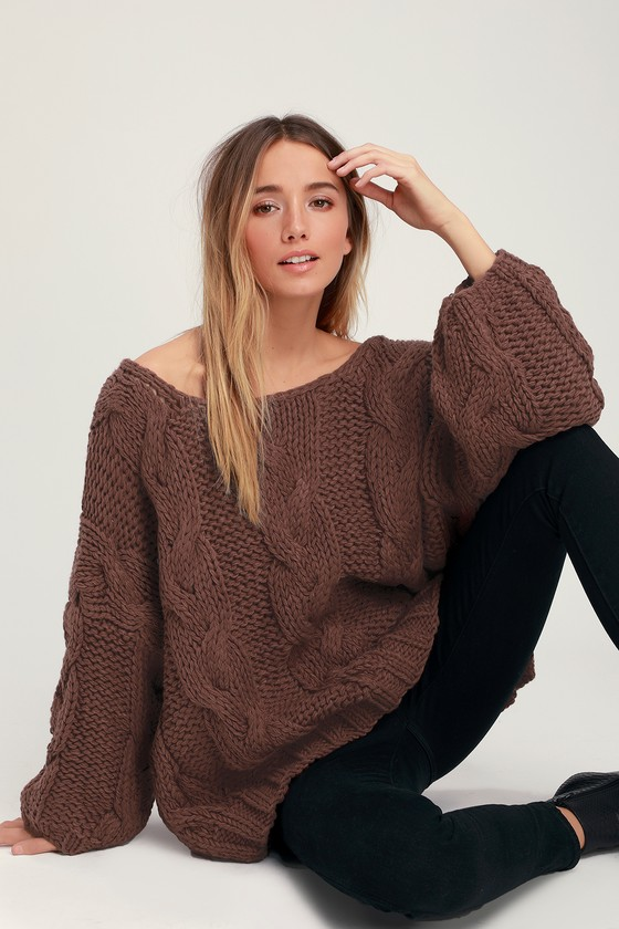 c8ac0f7e21 Cute Cable Knit Sweater - Brown Knit Sweater - Oversized Sweater