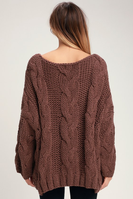 Walk in the Park Brown Oversized Cable Knit Sweater
