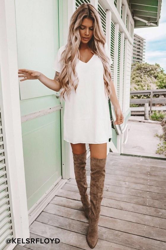9b5e87a9d7c9 Chic Short Sleeve White Dress - V-Neck Dress - T-Shirt Dress