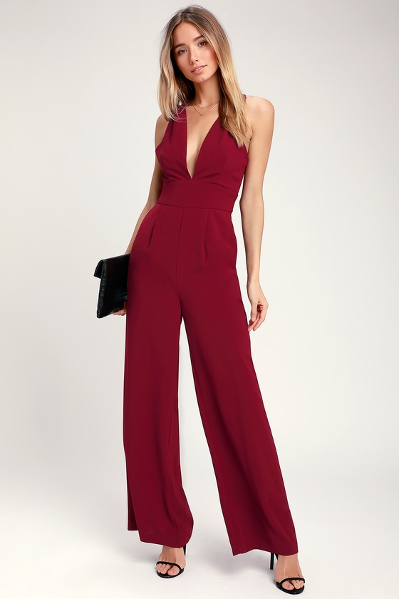 Vintage High Waisted Trousers, Sailor Pants, Jeans Never Looking Back Burgundy Backless Jumpsuit - Lulus $22.00 AT vintagedancer.com