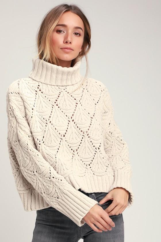 Smiling Sweetly Light Beige Chenille Knit Turtleneck Sweater by Lulu's