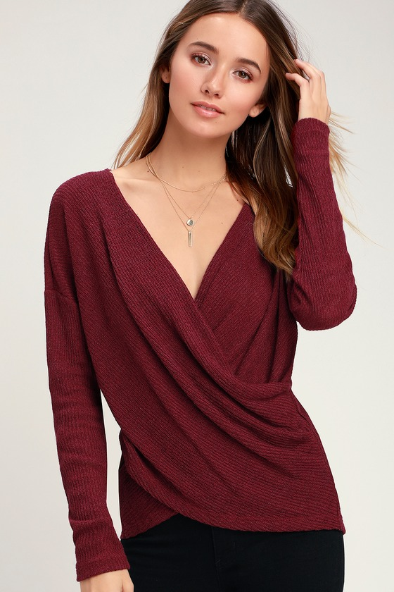 Jordyn Wine Red Surplice Sweater Top - Lulus