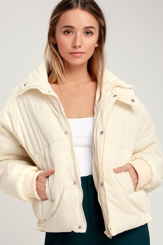 Horizon Cream Puffer Jacket - Lulus
