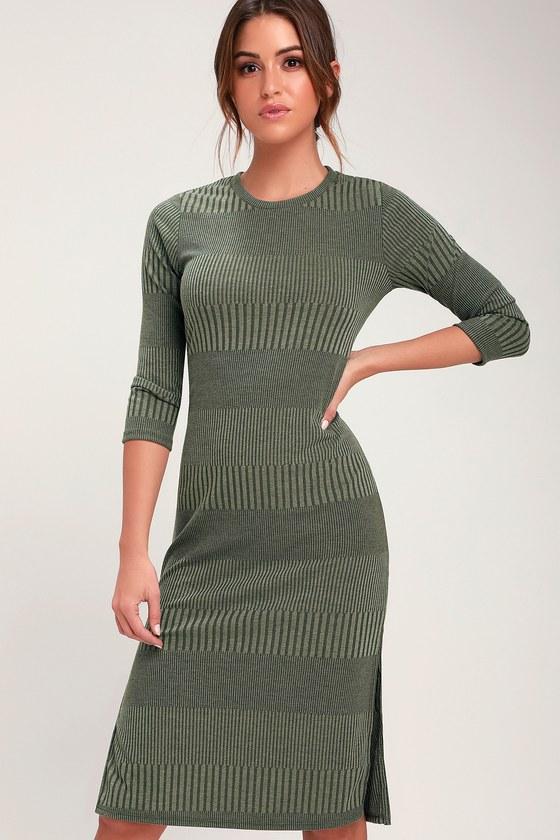 1e085889befb Chic Olive Green Dress - Ribbed Dress - Ribbed Midi Dress