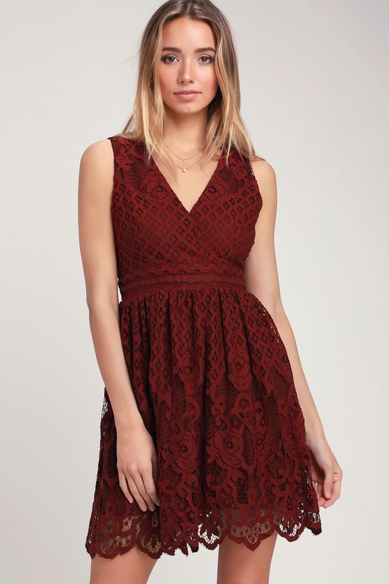 da2c38d408 Black Swan Brandi - Wine Red Lace Dress - Lace Skater Dress