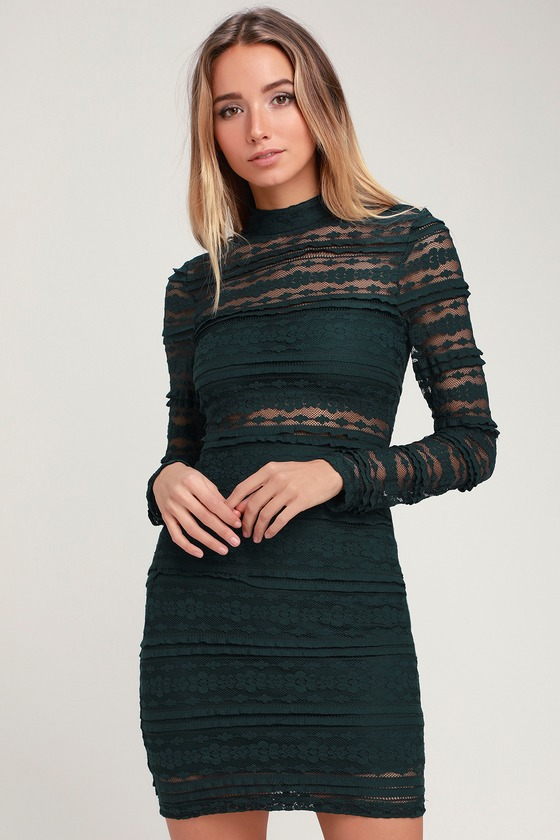 4c87fe86f0517a Sexy Forest Green Dress - Sheer Lace Dress - Bodycon Dress