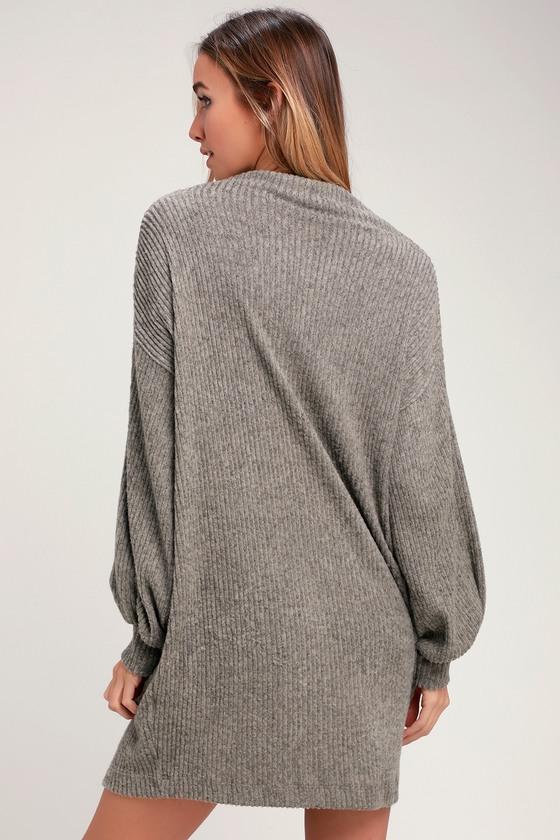 e64b8f5823912 Cute Taupe Dress - Cowl Neck Dress - Marled Dress - Sweater Dress