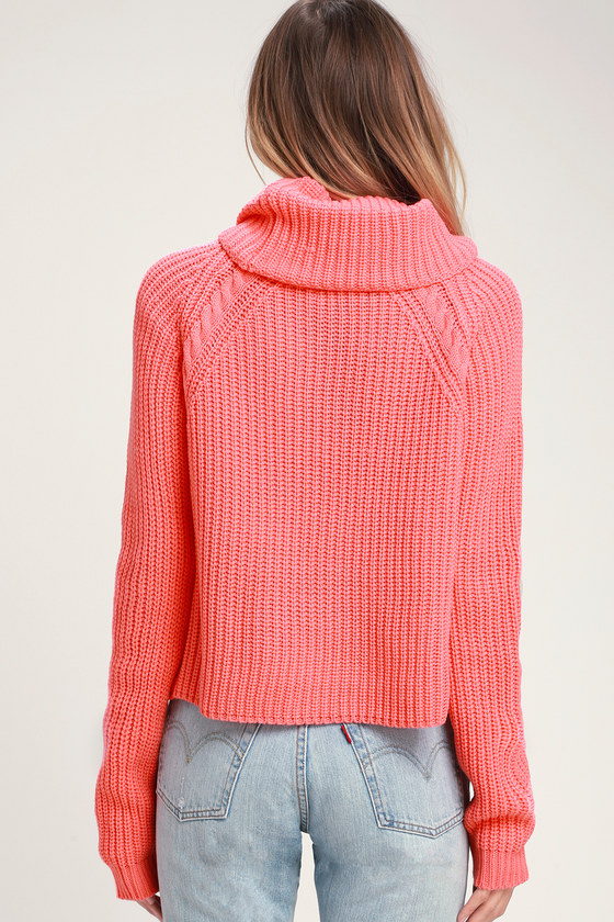 0bf374079ae4b Cute Coral Pink Sweater - Cowl Neck Sweater - Cozy Sweater