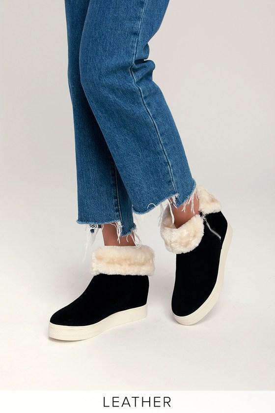 b8d008cfd89 Steve Madden Weston -Black Wedge Sneakers - Fur-Lined Sneakers