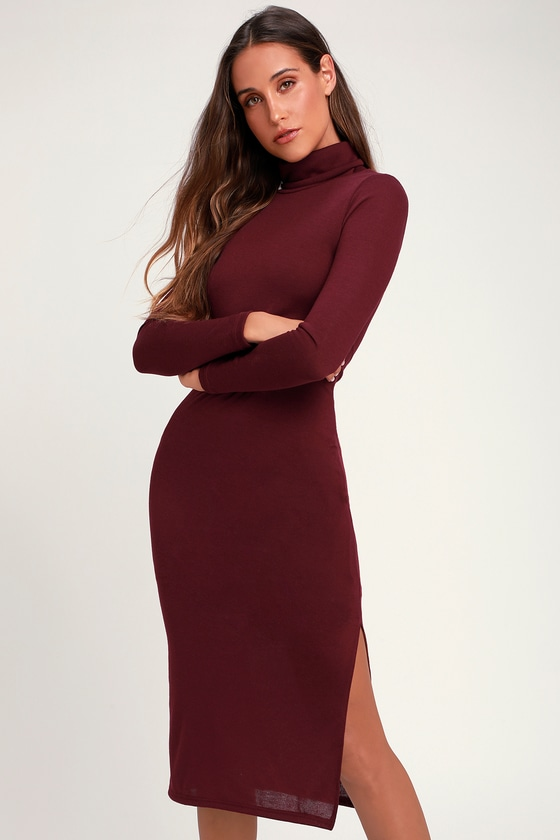 c4c539a7ee1 Cute Burgundy Dress - Turtleneck Dress - Sweater Dress - Midi