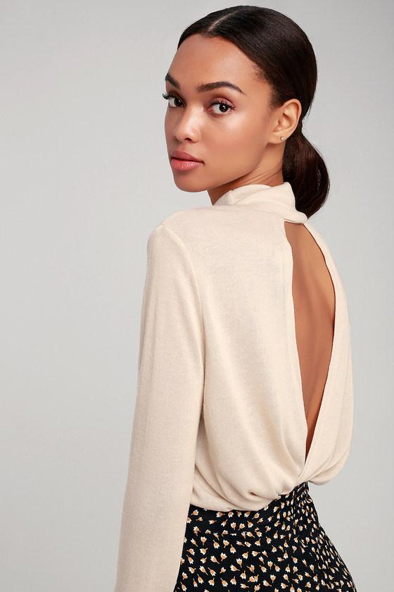 Joyner Beige Backless Sweater Top by Lulu's