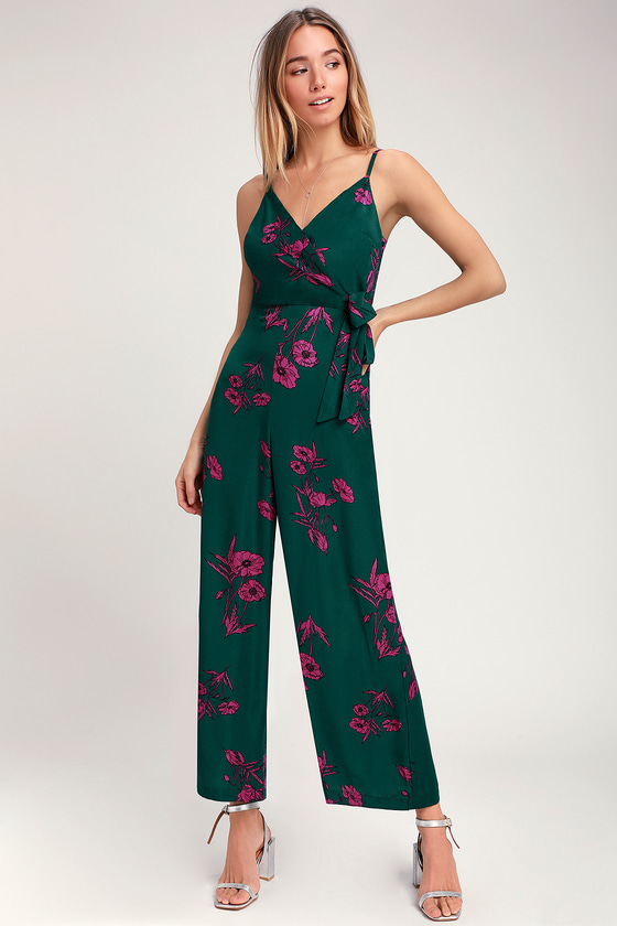 708fc286cc7 Dark Green Floral Jumpsuit - Print Jumpsuit - Wide-Leg Jumpsuit