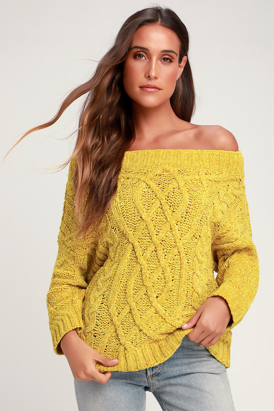 Chenille d It Mustard Yellow Off-the-Shoulder Chenille Sweater 9efbe865d