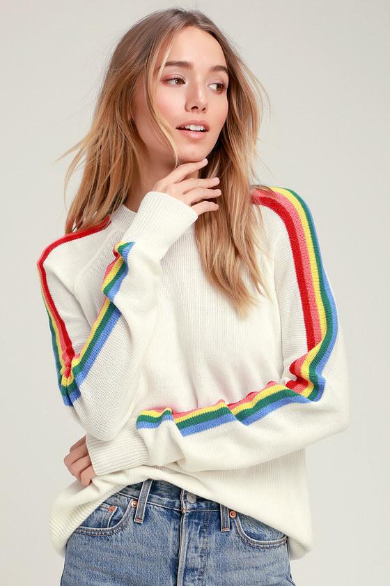 c274a17e596bf Sunshine and Rainbows Ivory Rainbow Stripe Sweater Top