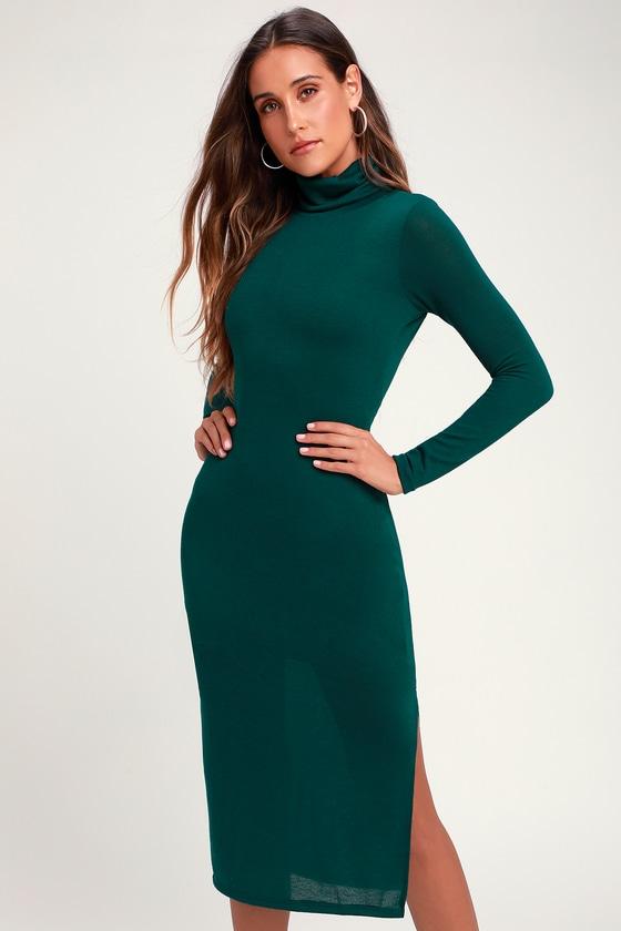 130ff905dc45 Cute Teal Green Dress - Turtleneck Dress - Sweater Dress - Midi
