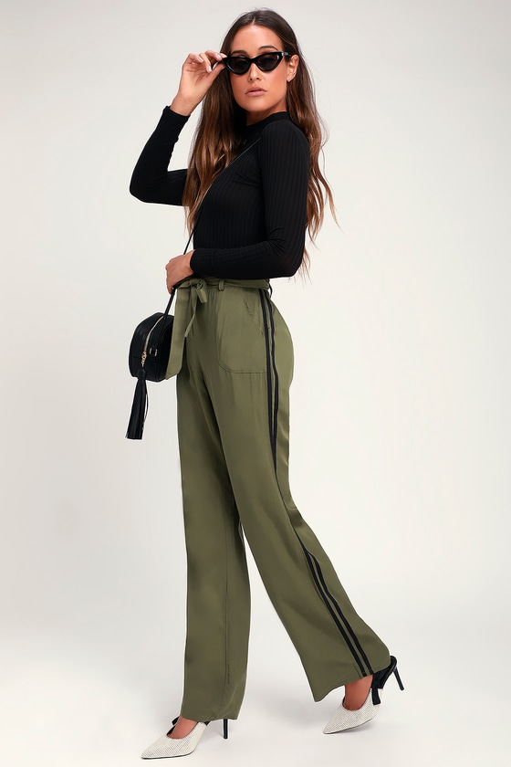 Trendy Olive Green Pants Paper Bag Waist Pants Striped