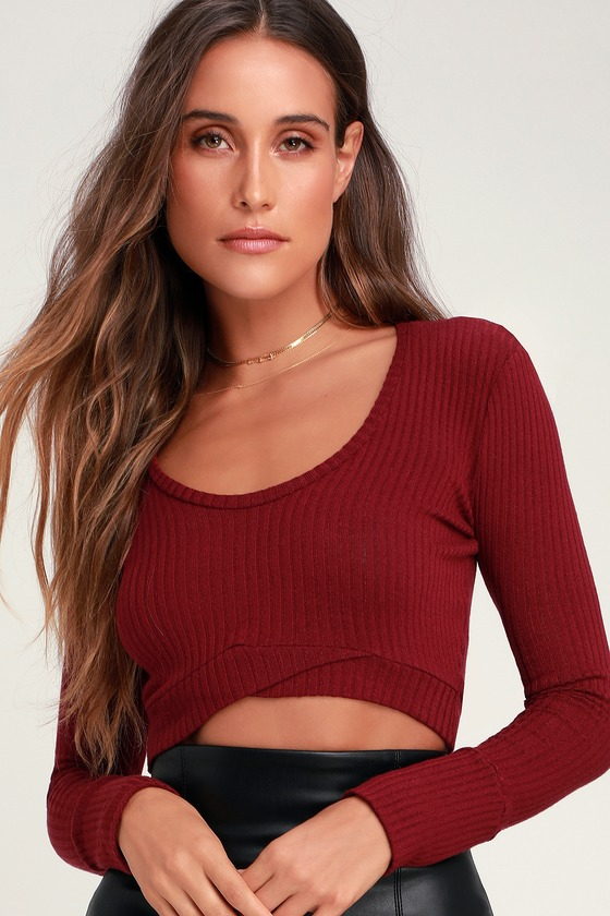 9a9bef73ced84f Project Social T Crop Top - Ribbed Top - Long Sleeve Crop Top